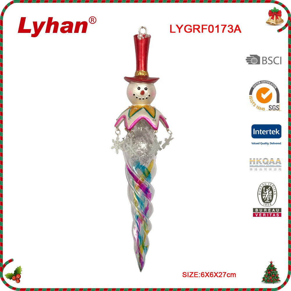 Lyhan glass icicle and resin snowman for christmas tree decoration
