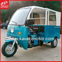 2015 Model Gasoline India Three Wheel Motorcycle Moto Taxi With Front Steel Sunshine Cabin For Driver