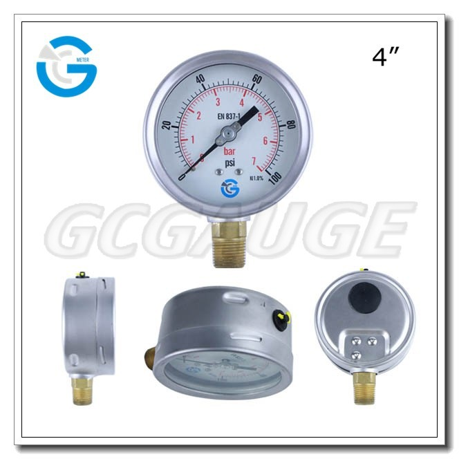 High quality 4inch 100mm brass internal bottom connection wika bourdon tube pressure gauge