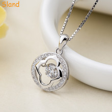 handmade circle shaped embedded crystal sterling 925 jewelry four-leaved clover silver necklace with box chain