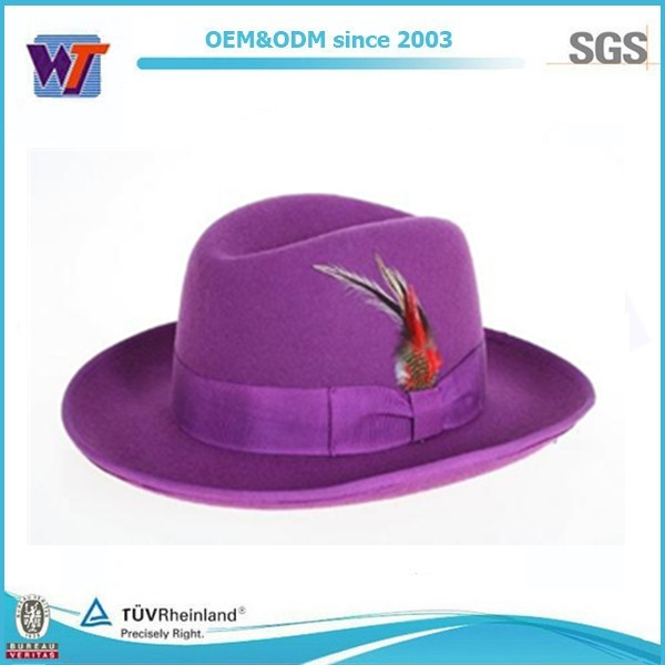 Gentlemen accessories vintage felt hat purple fedora hat for men