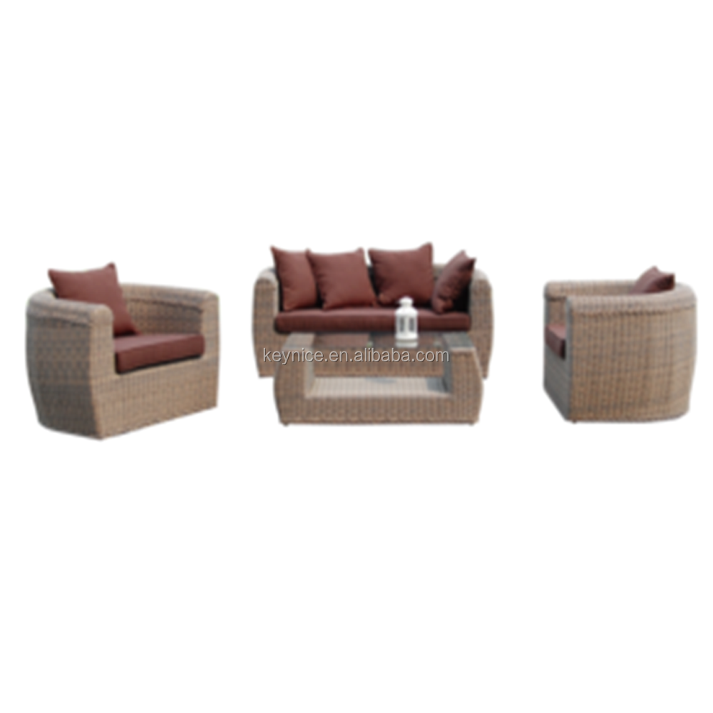 New design rattan sofa 4pcs brown wicker outdoor furniture PE rattan