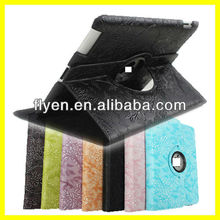 Smart Cover Magnetic For New iPad 3 2 & 4 360 Rotating Embossed Flowers PU Leather Cover Case Black New Good Price Wholesale