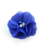 Wholesale Hair Bows pearl center Flowers, handmade fabric flower with beads center, Chiffon Shabby Flower with sequined Beads