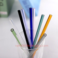 wholesale high quality clear bent pyrex glass straw and color borosilicate glass drinking straw