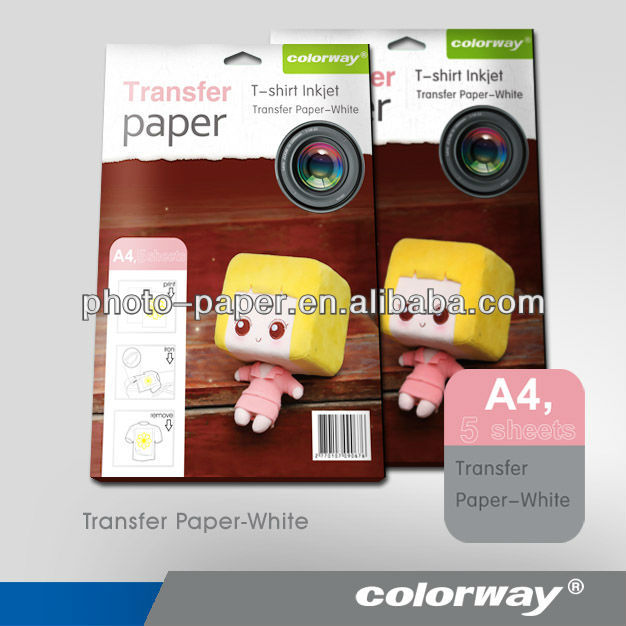 White T-shirt transfer paper for T-shirt printing, A4, Cotton textile