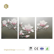 2017 wholesale factory price the only C8018B silver 100% handmade 3D art flower metal tree wall art