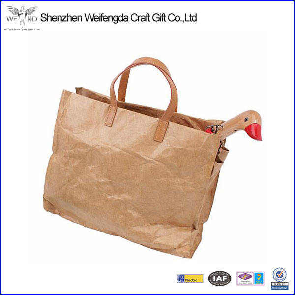 Janpenes style washed kraft paper handbag 2017 new vinltage women shopping bag