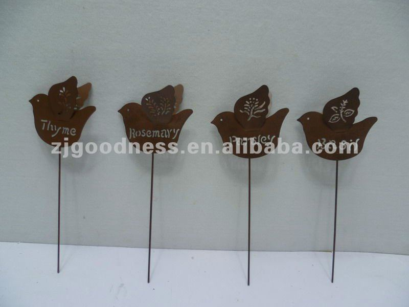 Good Sale 12''H Garden Plant Stakes Set of Four Birds, Rusty