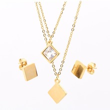 Stainless steel jewellery superior quality polish square big diamond earrings and necklaces set