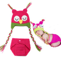 Cute Owl Design Crochet Newborn Photography Props Lovely Baby Beanie Cap + PP pants Girl Birthday Gift Knitted Infant Props