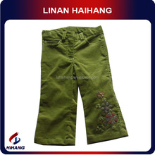 high quality wholesale cord embroidered formal pants for girls China