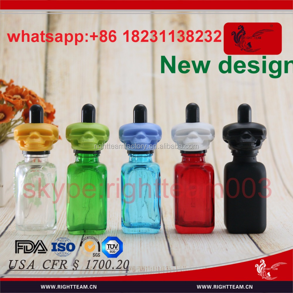 square colored glass bottle 30ml with skull cap