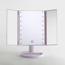 Makeup Mirror, Trifold Vanity Mirror with Lights, 3 panels cosmetic illuminated LED desktop table mirror with 16/24/36 pcs light