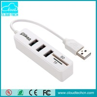 2 in 1 3 usb port hub with smart Card reader for iPad