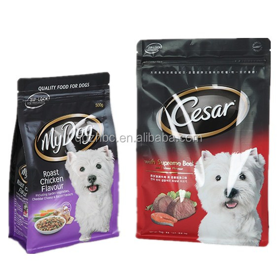 flat bottom resealable printed dog food packaging bag
