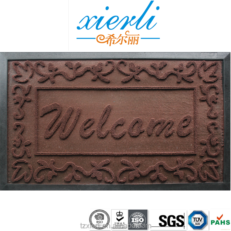 Welcome door mat with PP surface commercial carpet outdoor rubber backed