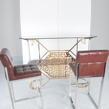 modern and simple office table with glass top/stainless steel desk