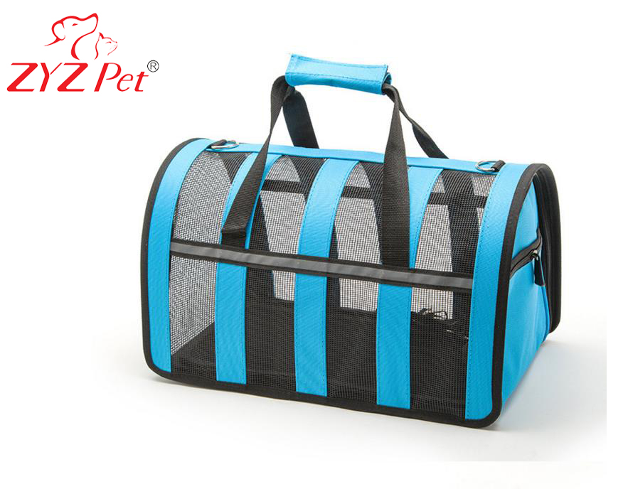 Striped customized color pet carrier breathable mesh handbag car dog cage