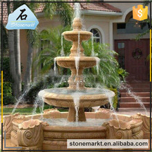 Outdoor decoration Garden stone carving 3 tiers limestone large outdoor water fountains for sale