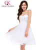 Grace Karin Sexy Fashion White Cocktail Dresses Strapless Sweetheart Backless Short Cocktail Dress CL3820