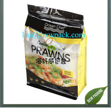 square box bottom doypack standing up prawn cracker bag/retort frozen sea food packing pouch