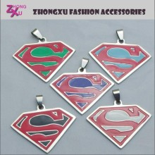 new fashion enamel custom stainless steel superman pendant charms