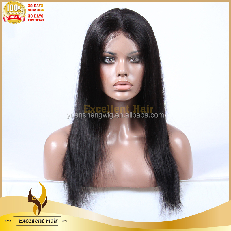 premier hair Fashion 2015 China Best Unprocessed Virgin Brazilian Full Lace Human Hair Long Black Straight Hair Wig