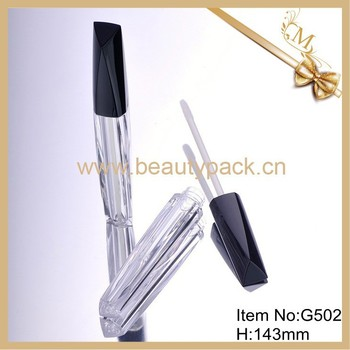 Transparent lip gloss bottle with brush