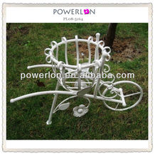 Lovely handmade craft white elegant bicycle eco-friendly wrought iron flower pot holders