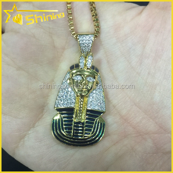 "2"" Pendant 10k Yellow Gold Enamel Coating Egyptian Pharaoh King Tut Pendant"