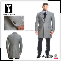 New arriving Fashion design 100% cashmere three button 2 pockets with ticket pocket grey camel cashmere fur coat