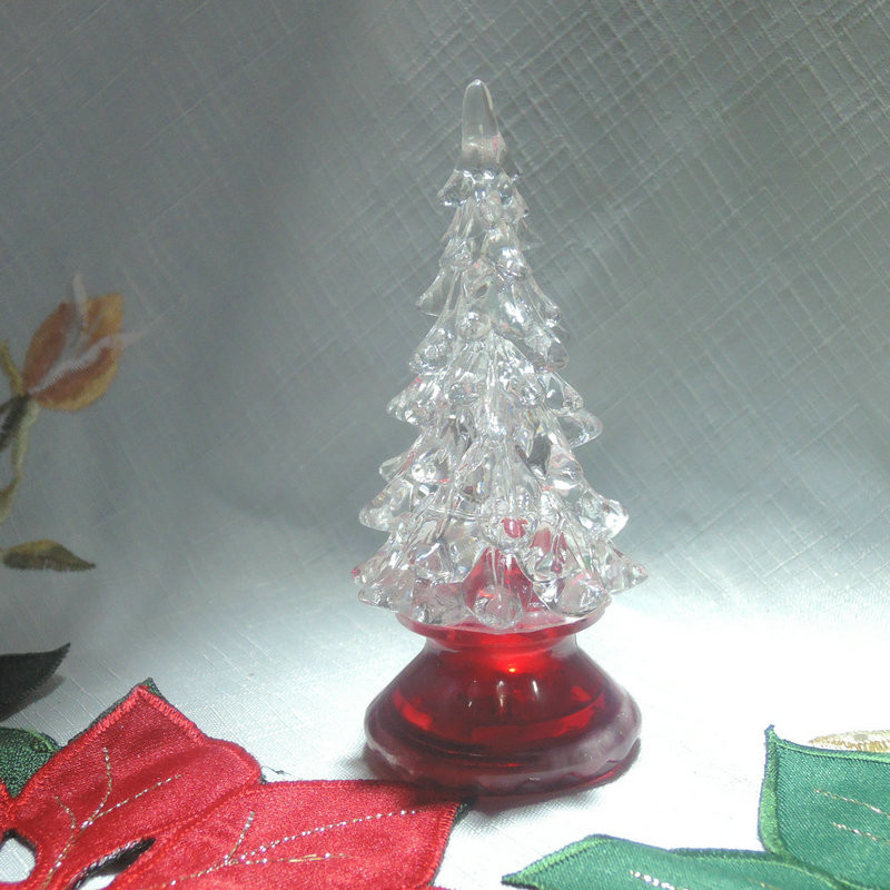 Mini Acrylic Christmas Tree LED Color Changing Lights For Home and Holiday Decorative Accessories