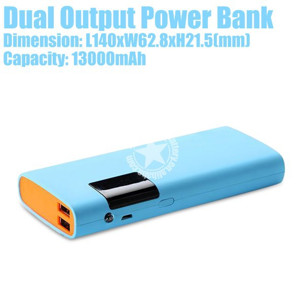 13000mAh Led Display Mobile Power Bank with Dual Output with Led Flashlight for Cellphones Made in China