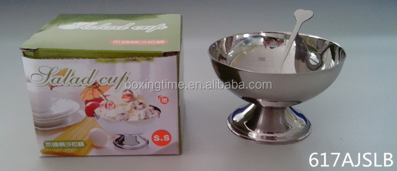 Stainless Steel ice cream Bowl small salad bowl with foot on ice Deserts bowl for Restaurant Home