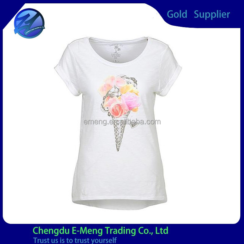 2015 High Quality New Design Round Neck Women Print Tee in White