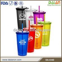 Custom plastic tumbler cups 22oz plastic cup with straw