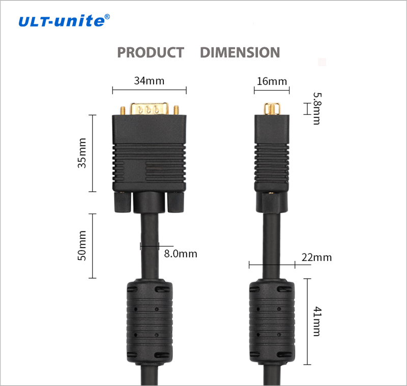 ULT-unite 1.5m VGA 3+9 15pin Male to Female Extension Cable