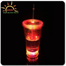 2015 double walled thermal plastic cup with straw