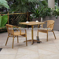 2013 bamboo like dining set/Bamboo like rattan chair/Polywood table with bamboo like aluminum frame