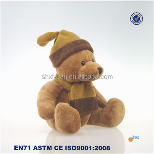 Plush Toy Brown Bear Stuffed Bear Toy With Scarf and Cap for Gift