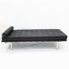 Comfortable Mies Van Der Rohe black leather barcelona daybed