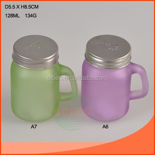 Colored 128ml Mason jar drinking glass with lid with straw