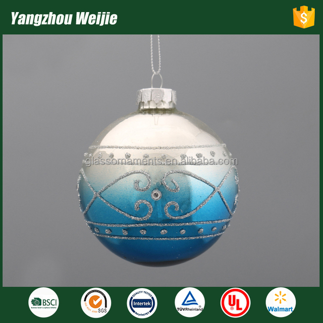 2017 new product christmas ball ornaments bulk of glass craft