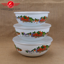 3pcs high quality enamel fresh bowl set/ ice bowl /mixing bowl with plastic lid
