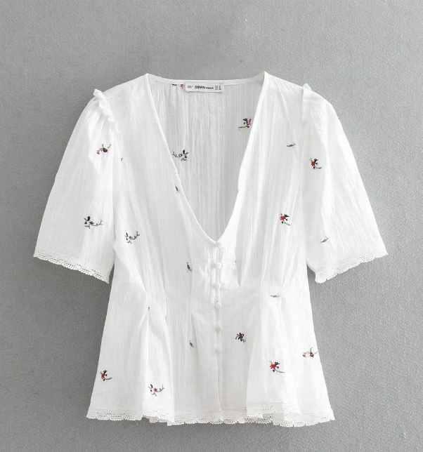 2019 summer new foreign <strong>trade</strong> women's clothing European and American style flower embroidery V collar short sleeve shirt