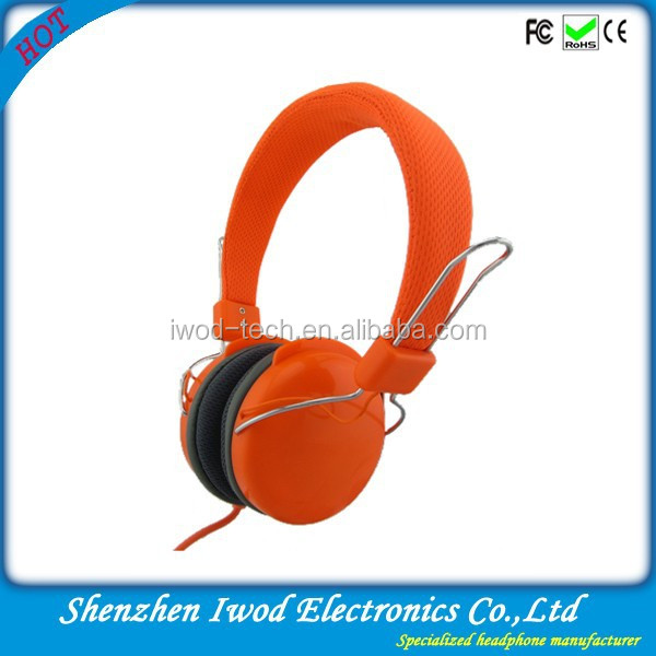 China manufacturer produce bright colored music on ear headphone orange