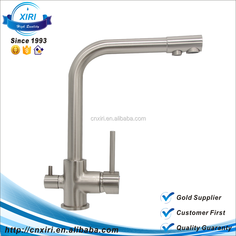 15 Years Customized Dual Handle Brushed Ro Water Filter 3 Way Kitchen Faucet JS002T
