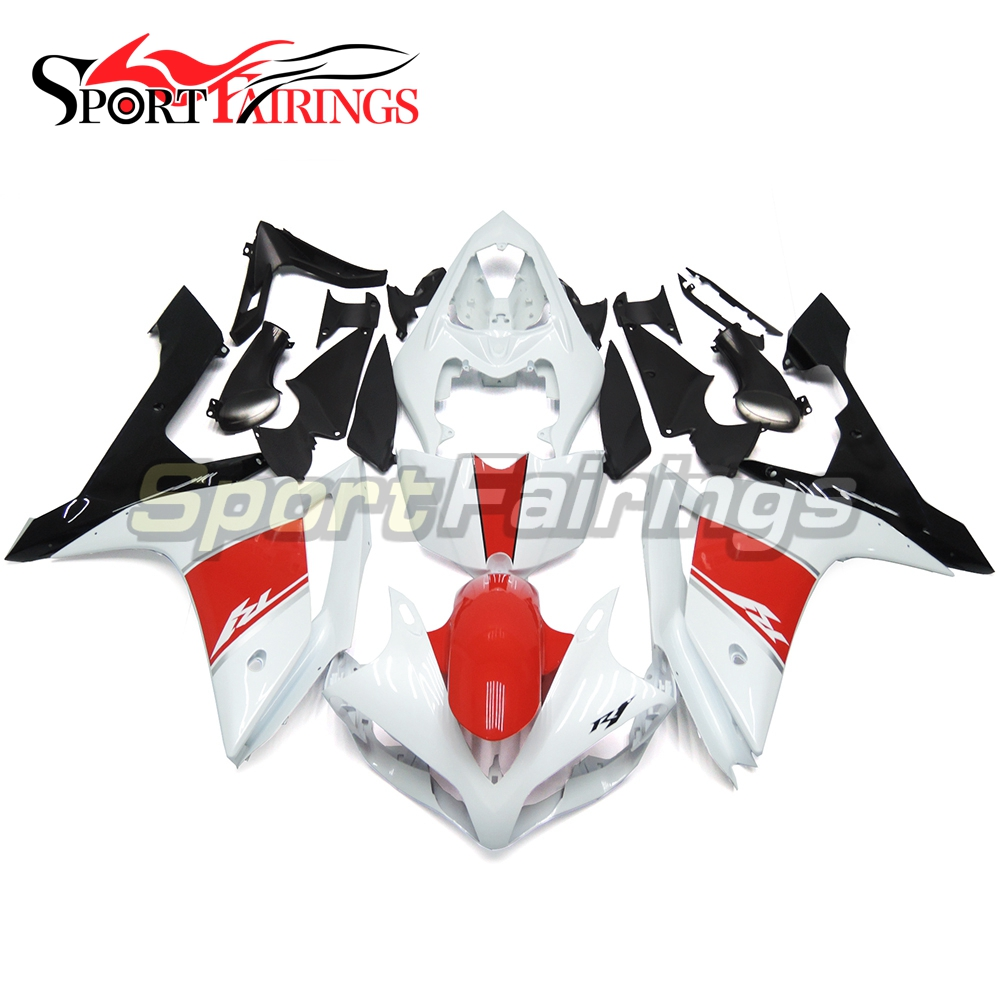 <strong>Fairings</strong> For Yamaha YZF <strong>R1</strong> <strong>07</strong> <strong>08</strong> ABS Plastic Injection Motorcycle Kit White Red Black <strong>Fairing</strong> kit