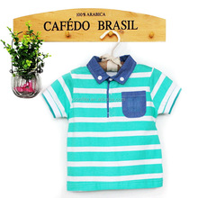 baby boy polo collar baby t shirt stripes print with pocket